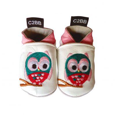 Chaussons en cuir souple HIBOU C2BB - chaussons, chaussures, chaussettes pour bébé