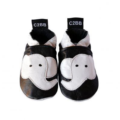Zapitillas de bebe de cuero suave niños antideslizante | Negro Elephant blanco