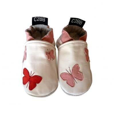 Scarpine Morbida Cuoio Bambini - ragazza | Farfalle rosso rosa
