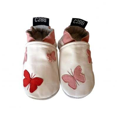 Soft leather baby shoes girls | Butterflies pink red