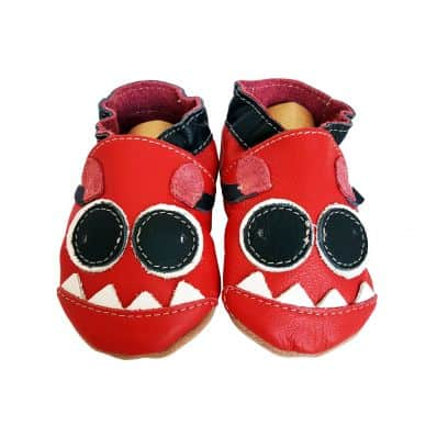 Soft leather baby shoes boys | Red monster