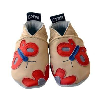 Zapitillas de bebe de cuero suave niñas antideslizante | Mariposa roja