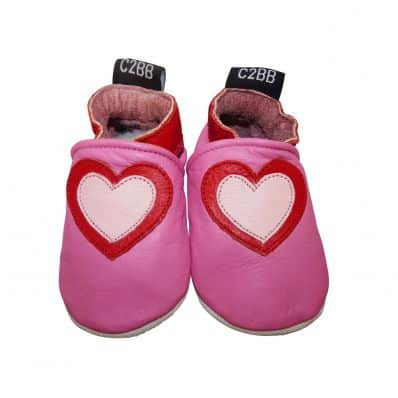 Zapitillas de bebe de cuero suave niñas antideslizante | Grueso corazón