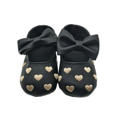 Chaussons COEUR ET NOEUD NOIRS CHICS