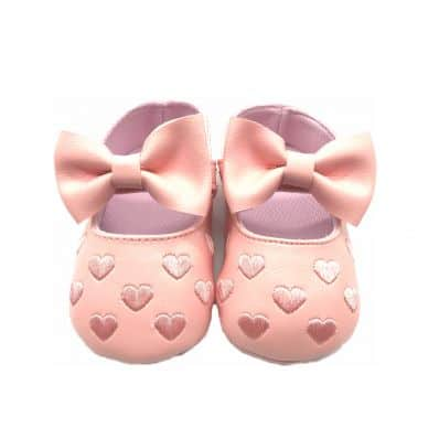 Chaussons COEUR ET NOEUD ANGE ROSE