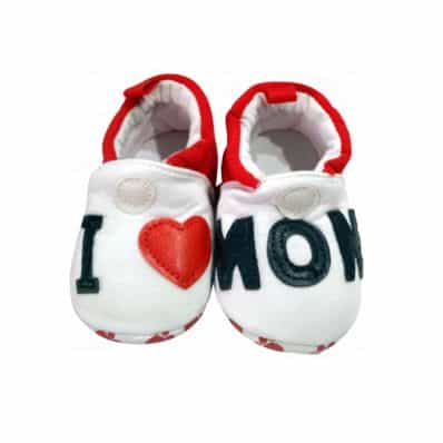 Chaussons en tissu I LOVE MOM