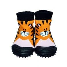 Baby boys Socks shoes with grippy rubber | Orange tigger