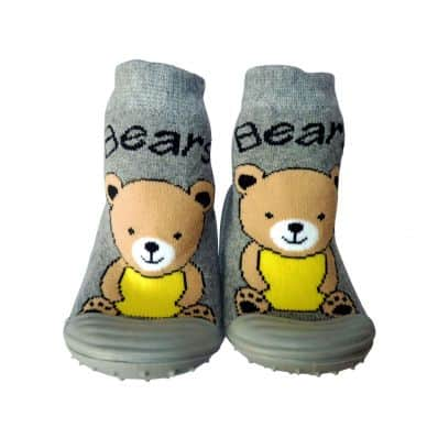 Scarpine calzini antiscivolo bambini - ragazzo | Orsacchiotto grigio