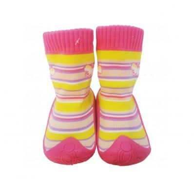 Hausschuhe - Socken Baby Kind geschmeidige Schuhsohle Mädchen | Rosa Schmetterling
