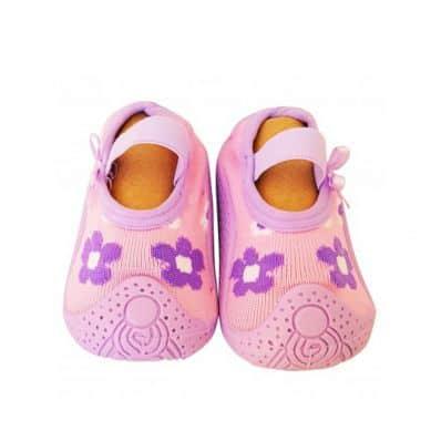 Hausschuhe - Socken Baby Kind geschmeidige Schuhsohle Mädchen | Rosa lila Blüten