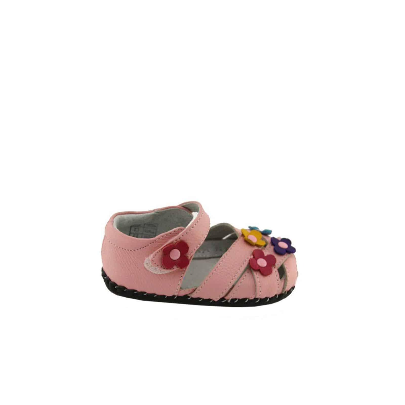 16b314719f543 Chaussures premiers pas cuir souple Sandales 3 fleurs