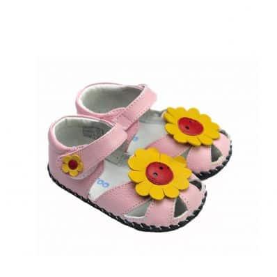 Chaussures bébé premiers pas en cuir FLEUR DE TOURNESOL