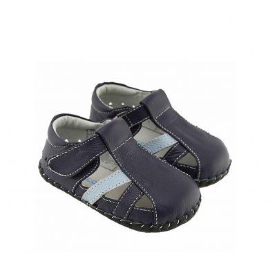 FREYCOO - Krabbelschuhe Babyschuhe Leder - Jungen | Marineblaue Sandalen