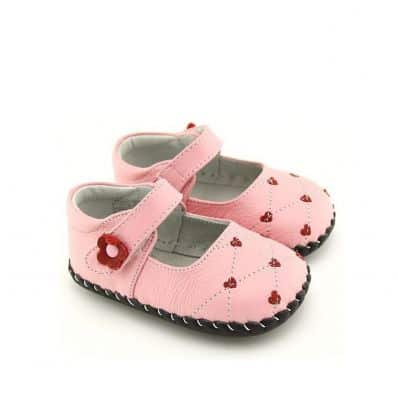 FREYCOO - Baby girls first steps soft leather shoes | Pink babies with hearts
