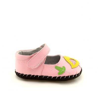 FREYCOO - Zapatos de bebe primeros pasos de cuero niñas   Babies rosa piou-piou