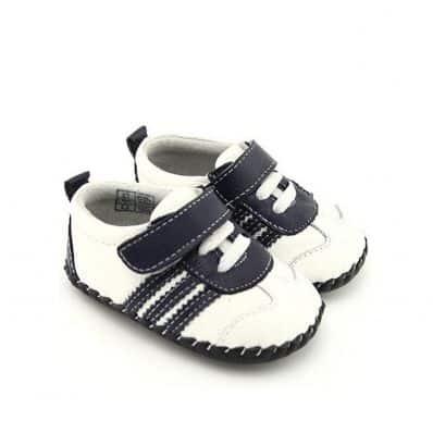 Chaussures premiers pas cuir souple Baskets à bandes C2BB - chaussons, chaussures, chaussettes pour bébé