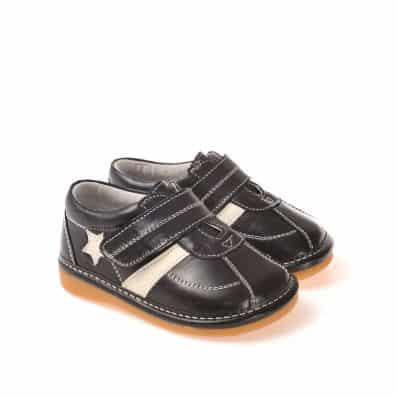 CAROCH - Zapatos de cuero chirriantes - squeaky shoes niños | Zapatillas de deporte negras estrella a blanca