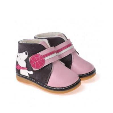 CAROCH - Scarpine bimba primi passi con fischietto | Stivaletti rosa nero piccolo cane