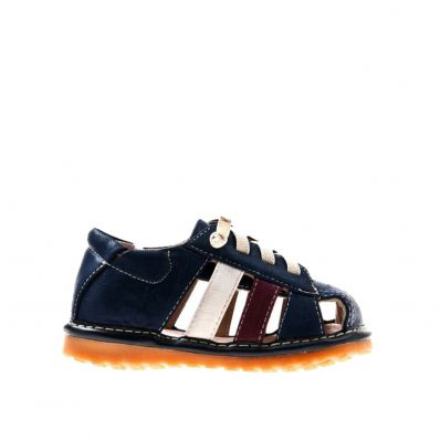 Little Blue Lamb - Squeaky Leather Toddler boys Shoes | Blue strip white sneakers