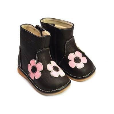 FREYCOO - Zapatos de cuero chirriantes - squeaky shoes niñas   Botas marrones flores rosa