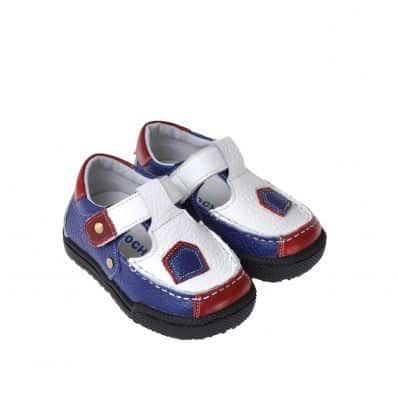 CAROCH - Soft sole boys Toddler kids baby shoes | White blue red shoes