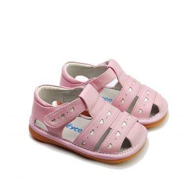 FREYCOO - Krabbelschuhe Babyschuhe squeaky Leder - Mädchen | Pink sandale mit kleine Herzen