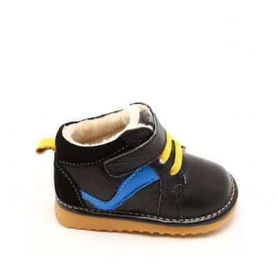 FREYCOO - Squeaky Leather Toddler boys Shoes | Black sneakers blue strip