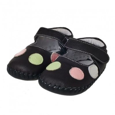 Little Blue Lamb - Baby girls first steps soft leather shoes | Brown with spots