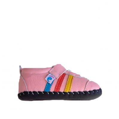 FREYCOO - Zapatos de bebe primeros pasos de cuero niñas   Zapatillas de deporte rosas y blanca
