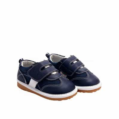 YXY - Squeaky Leather Toddler boys Shoes | Navy blue with white strip