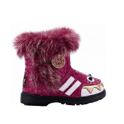YXY - Soft sole girls kids baby shoes | Pink filled booties monster
