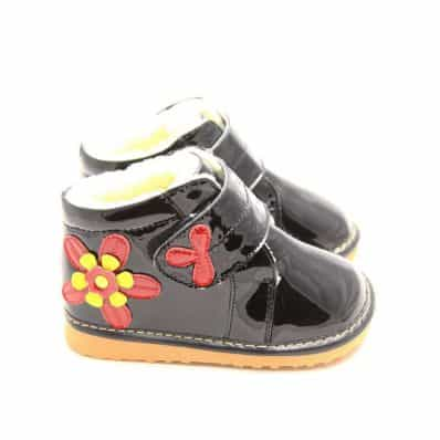 FREYCOO - Squeaky Leather Toddler Girls Shoes   Black winter shoes red flower