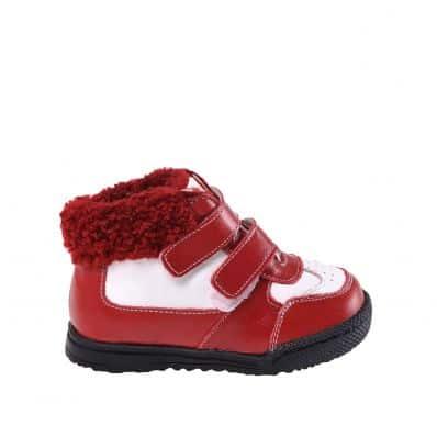 CAROCH - Krabbelschuhe Babyschuhe Leder - Mädchen | Rot und weiß gefüllte stiefel