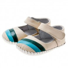 Little Blue Lamb - Baby girls first steps soft leather shoes   White babies with blue strip