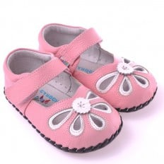 CAROCH - Baby girls first steps soft leather shoes | Pink white sandals