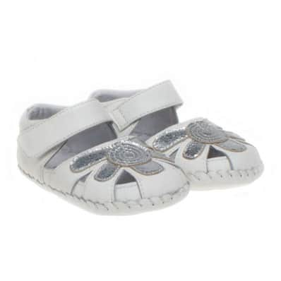Little Blue Lamb - Baby girls first steps soft leather shoes | White silver sandals