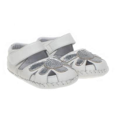 Little Blue Lamb - Chaussures premiers pas cuir souple | Sandales blanches argentées