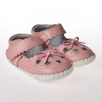 Little Blue Lamb - Chaussures premiers pas cuir souple | Sandales rose noeud