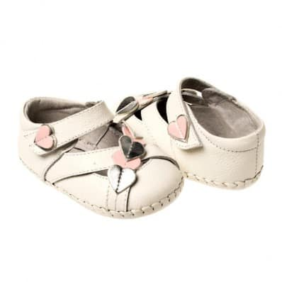 Little Blue Lamb - Baby girls first steps soft leather shoes | White sandals heart ceremony