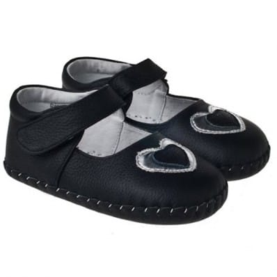 Little Blue Lamb - Baby girls first steps soft leather shoes | Silver heart black