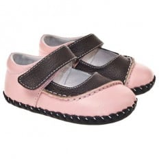 Little Blue Lamb - Baby girls first steps soft leather shoes | Pink and brown bicolor