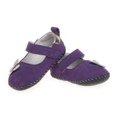 Little Blue Lamb - Zapatos de bebe primeros pasos de cuero niñas | Mariposa morada