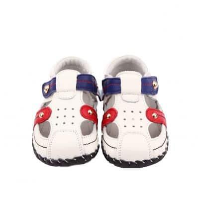 Chaussures premiers pas cuir souple sandales fermées DRAPEAU