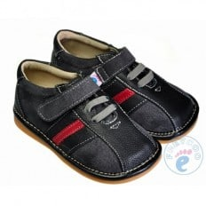 FREYCOO - Squeaky Leather Toddler boys Shoes | Black sneakers red strip