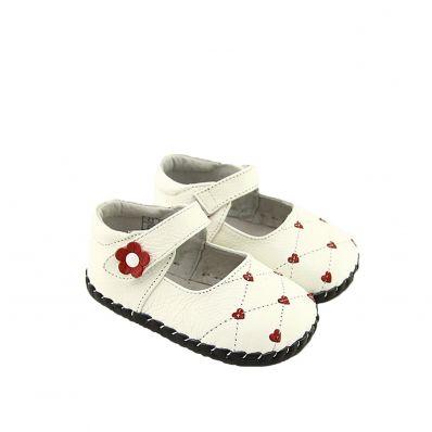 FREYCOO - Krabbelschuhe Babyschuhe Leder - Mädchen   Rosa babies mit herzen