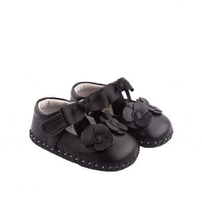 Chaussures premiers pas cuir souple BLACK RIBBON