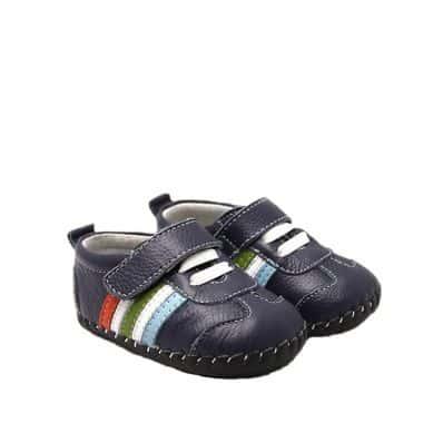 FREYCOO - Scarpine primi passi bimba in morbida pelle | Sneakers blu scuro