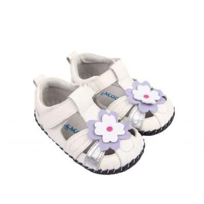 Chaussures premiers pas cuir souple Sandales PURPLE FLOWER