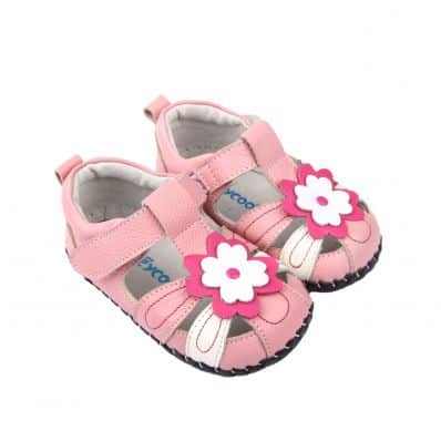 FREYCOO - Scarpine primi passi bimba in morbida pelle | Sandali rosa con tre fiori