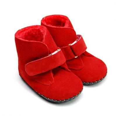 FREYCOO - Chaussures premiers pas cuir souple   Bottines rouge